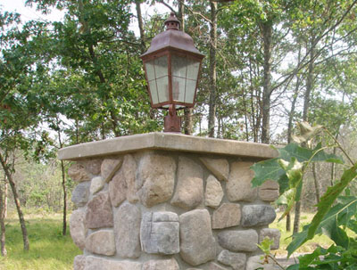 Horseshoe Bay Fieldstone Lamp Post